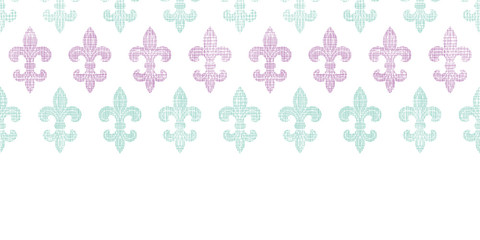 Abstract textile fleur de lis stripes horizontal seamless