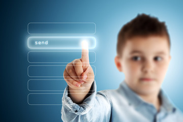 Send. Boy pressing a virtual touch screen. Blue background.