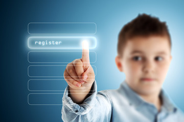 Register. Boy pressing a virtual touch screen. Blue background.