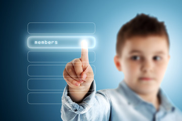 Members. Boy pressing a virtual touch screen. Blue background.