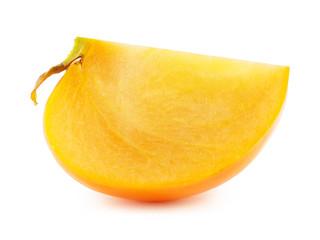 Persimmon slice isolated on white background