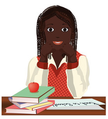Back to School. Little  schoolgirl with apple, vector