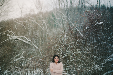 Beautiful Girl in Winter Wilderness