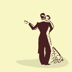 Young couple dancing the waltz