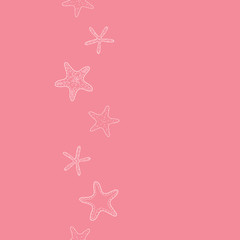 Starfish pink pastel stripe line art vertical seamless pattern