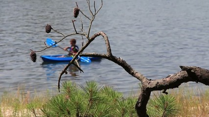 Young Kayaker on a lake in Virginia Beach