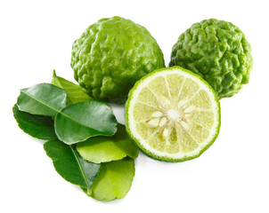 Bergamot and kaffir lime leaves on white background