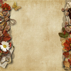 Vintage background with beautiful floral border