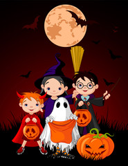 Halloween background with  trick or treating children
