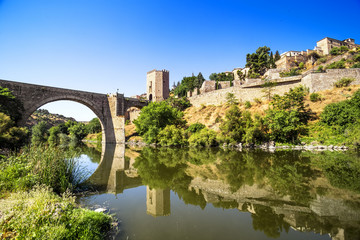 City of Toledo near the bridge Puente de Alcantara, Spain.