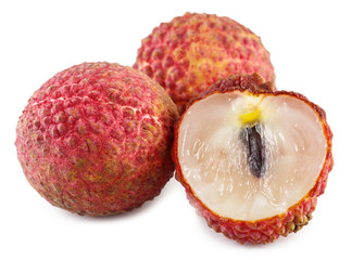 Lychee. Fresh lychees isolated on white