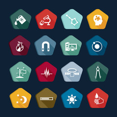 Science icons set, chemistry buttons collections