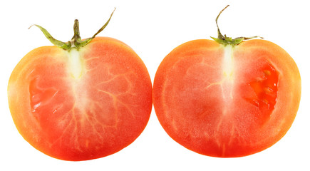 Slices of tomato isolated on white