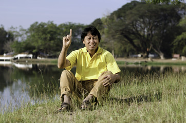 Portrait of a happy asian man