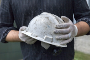 Construction Supervisor with Gloves and Hard Hat