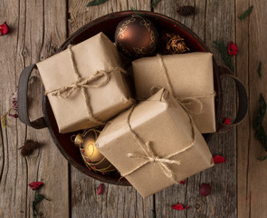 Rustic Wrapped Christmas Gifts