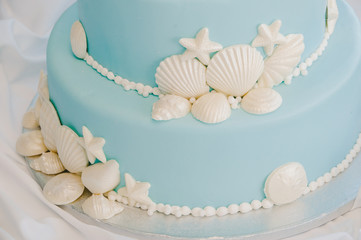 Tiffany Blue Beach Wedding Cake