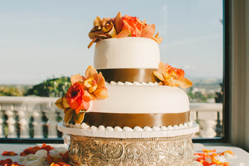 Orange and Brown Wedding Cake