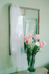 bridal Veil and Pink Tulips