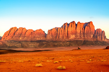 Scenic desert at early-morning in Wadi Rum, Jordan.