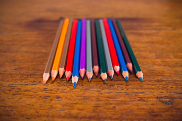 Color pencils on the table