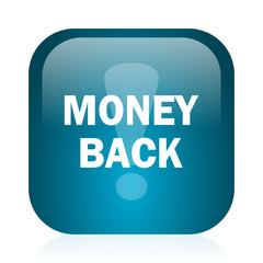 money back blue glossy internet icon