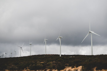 Windmills Under Stormy Sky