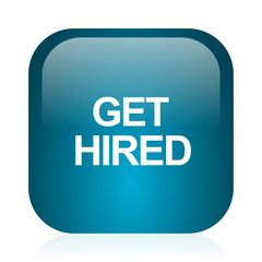 get hired blue glossy internet icon