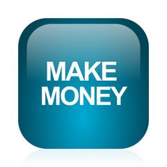 make money blue glossy internet icon