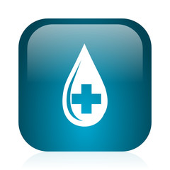 blood blue glossy internet icon