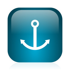 anchor blue glossy internet icon