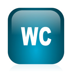 toilet blue glossy internet icon