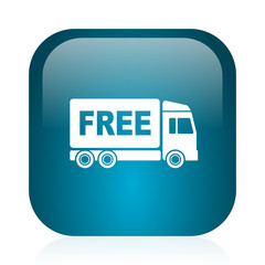 free delivery blue glossy internet icon