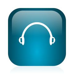 headphones blue glossy internet icon