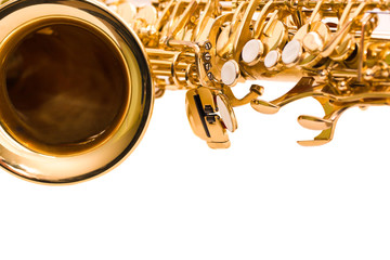 Fragment saxophone on a white background