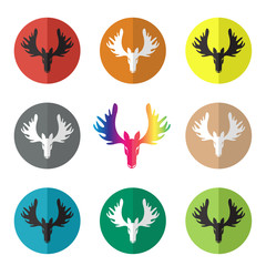 Vector group of deer head in the circle