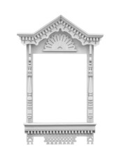 Decorative wooden window frame on a white background