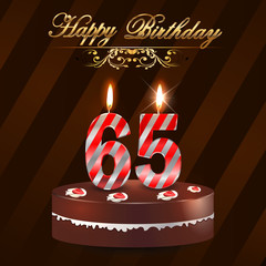 65 year Happy Birthday Card with cake and candles