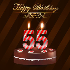 55 year Happy Birthday Card with cake and candles