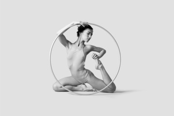 Portrait of young pretty ballerina with ring