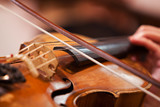 Fiddlestick on the strings of a violin closeup
