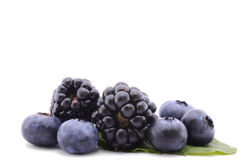 Blackberry and blueberry isolated on  white background