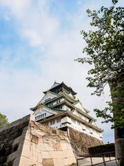 Osaka castle with blue sky, Osaka, Japan