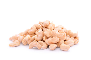 Heap of cashew nuts, isolated on white background