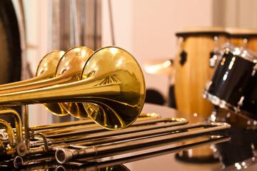 Lying trombones closeup