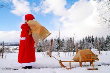 weihnachtsmann sack gescheneke winter weihnachten