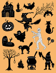 Set of Halloween silhouette characters