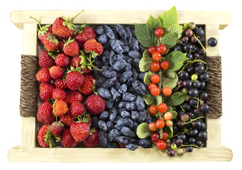 Various summer berries in wooden box