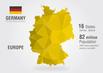 Germany world map with a pixel diamond pattern.