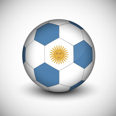 Soccer ball with Argentina flag isolated